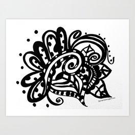 Happy Swirl Doodle Art Print