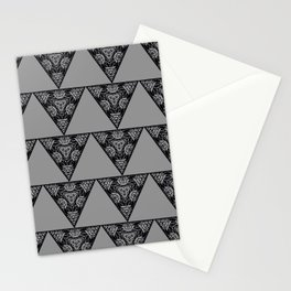 Abstract Damask Floral Triangle Gray and Black Geometric Shape Pattern Stationery Cards
