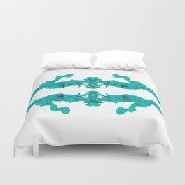 Cyan Ink Drop In Water Duvet Cover