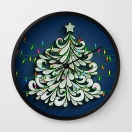 Christmas tree with colorful lights Wall Clock