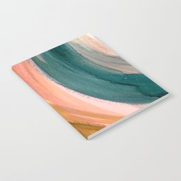Breathe: a vibrant bold abstract piece in greens, ochre, and pink Notebook