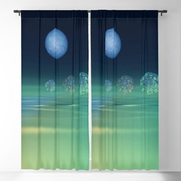fancy trees and turquoise moonlight Blackout Curtain