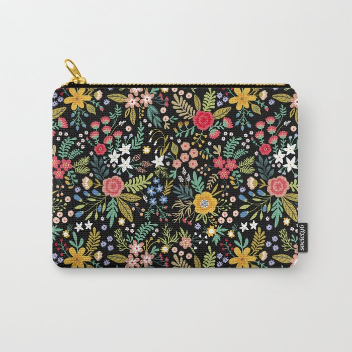 Amazing floral pattern with bright colorful flowers, plants, branches and berries on a black backgro Tasche