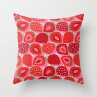 strawberry Throw Pillows featuring Strawberry by Helene Michau