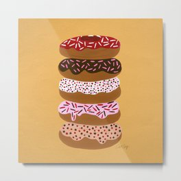 Stacked Donuts on Yellow Metal Print