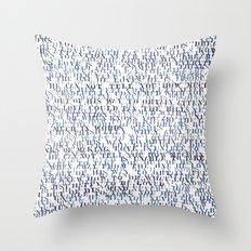 Sentences of Love Blue Throw Pillow