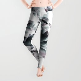Modern Black and White Diamond Abstract Geometric Leggings