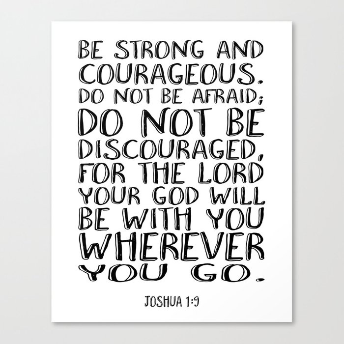 bible verse 1 joshua 1 9 christian quote typography wall art