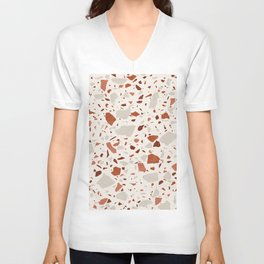 Abstract Brown Terrazzo Unisex V-Neck