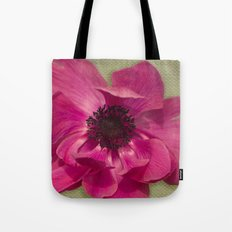 Pink Anemone on Linen Texture Tote Bag