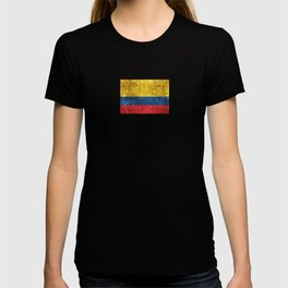 Vintage Aged and Scratched Colombian Flag T-shirt