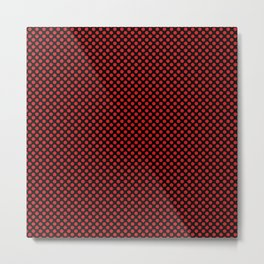 Black and Fiery Red Polka Dots Metal Print