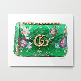 Fashion bag green watercolor Metal Print