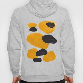 Mid Century Abstract Black & Yellow Fun Pattern Floating Mustard Bubbles Cheetah Print Hoody