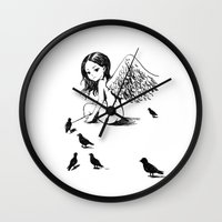 angel Wall Clocks featuring Angel by Freeminds