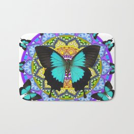 PURPLE AMETHYST BLUE BUTTERFLY MANDALA  WHITE ART Bath Mat