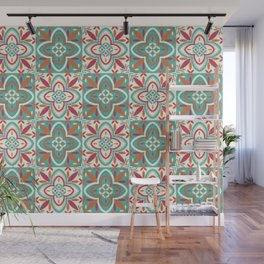 Peranakan Art Nouveau Tiles (Floral Star in Candied Colours) Wall Mural