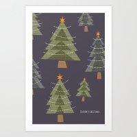 Christmas Trees at Night Art Print