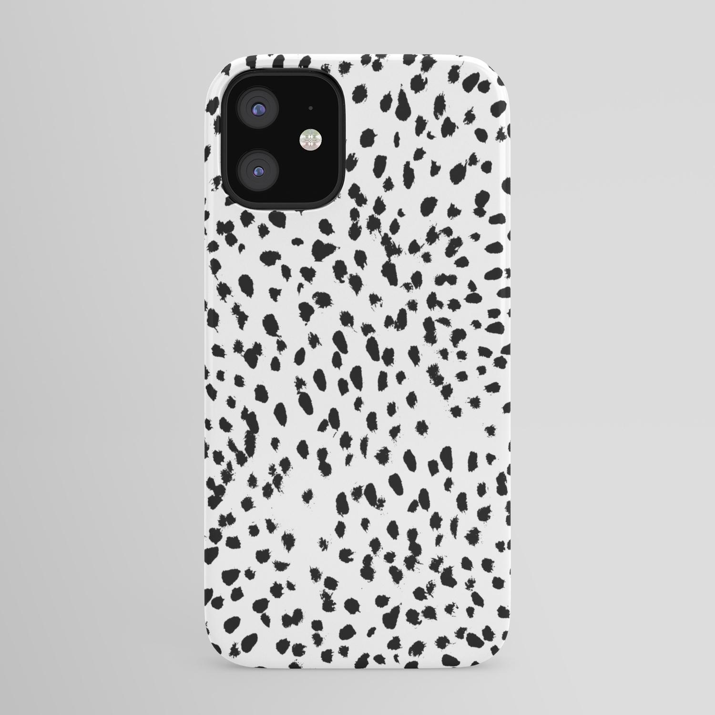 Nadia   Black and White, Animal Print, Dalmatian Spot, Spots, Dots, BW  iPhone Case