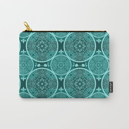 Turquoise abstract seamless lace pattern texture background Carry-All Pouch