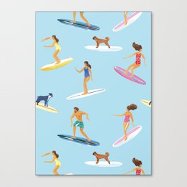 surfers watercolor pattern Canvas Print