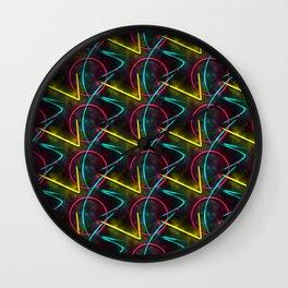 Neon 80s Pattern Wall Clock