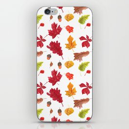 Autumn leaves pattern. Seamless pattern with various hand drawn autumn leaves.  iPhone Skin