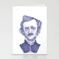 edgar allen poe Stationery Cards featuring Edgar Allan Poe illustration by Stavros Damos