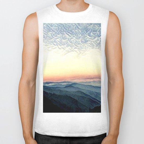 Pastel Sunset over Mountains (Hipster Landscape) Biker Tank