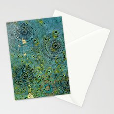 Blue & Green Abstract Art Collage Stationery Cards
