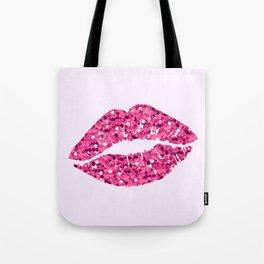 Glitter Pink Lips Tote Bag
