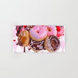 CHOCOLATE & PINK  STRAWBERRY GLAZED DONUTS ART Hand & Bath Towel