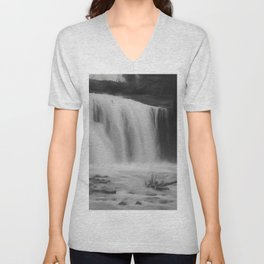 Waterfall in Black and White Unisex V-Neck