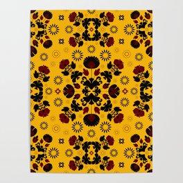 Fiesta Folk Yellow #society6 #folk Poster