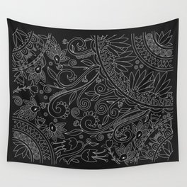 Sketchbook drawing (White on Black) Wall Tapestry
