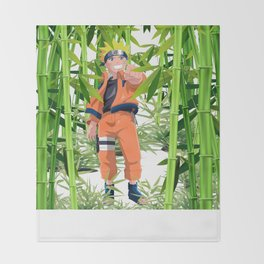 Hero anime in the bamboo forest Throw Blanket