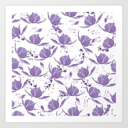 Hand painted lilac violet watercolor splatters floral Art Print