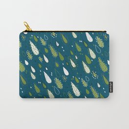 Rain Drops Dark Cyan and Green Carry-All Pouch