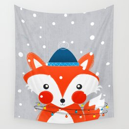 Christmas Fox with fairy lights Wall Tapestry