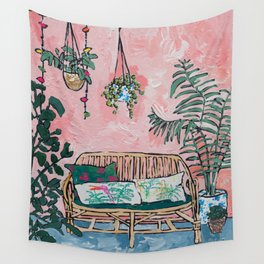 Rattan Bench in Painterly Pink Jungle Room Wall Tapestry