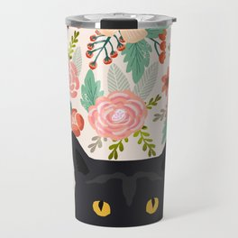 Black Cat florals spring summer animal portrait pet friendly cat lady gifts for her or him cute cats Travel Mug
