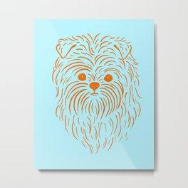 Affenpinscher (Light Blue and Orange) Metal Print
