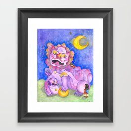 Foo Dog and Girls Framed Art Print