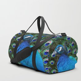 Blue Peacock and Feathers Duffle Bag