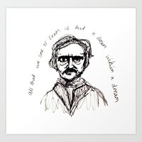 edgar allen poe Art Prints featuring Edgar Allen Poe by Robyn Alexandria