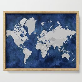 Dark blue watercolor and grey world map Serving Tray