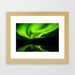 aurora borealis northern lights sky Framed Art Print