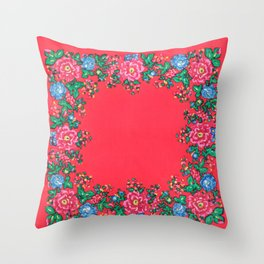 Traditional folk painting pattern Throw Pillow