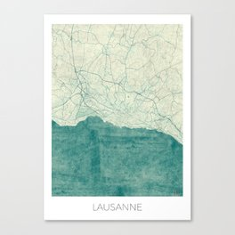 Lausanne Map Blue Vintage Canvas Print
