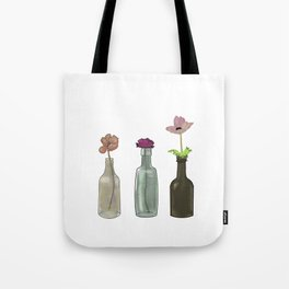 Flowers in Glass Bottles . Pastel Colors Tote Bag